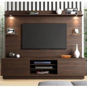 Estante Home para TV até 60 Polegadas Chicago Linea Brasil Chocolate Wood