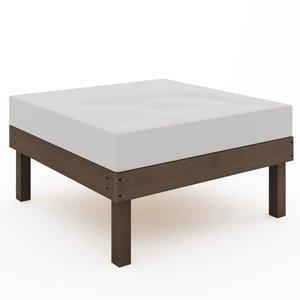 Módulo Puff Sofá Lazy (com almofada) 01-237 Mão e Formão Nogueira