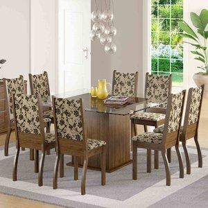 Sala de Jantar Mesa e 8 Cadeiras Madesa Vívian Rustic/Tecido Floral