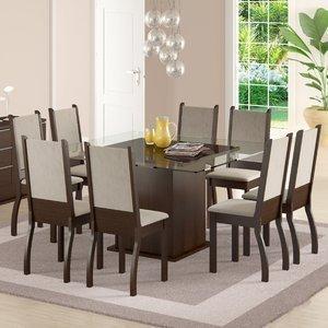 Sala de Jantar Mesa e 8 Cadeiras Madesa Vívian Tabaco/Suede Pérola
