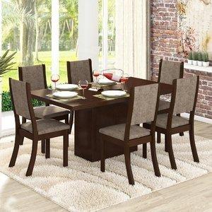 Conjunto para Sala de Jantar Mesa e 6 Cadeiras Viero Dulce Choco/Canela