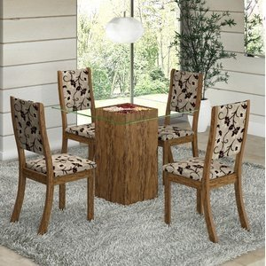 Conjunto para Sala de Jantar Mesa e 4 Cadeiras Viero Via Avelã/Medina