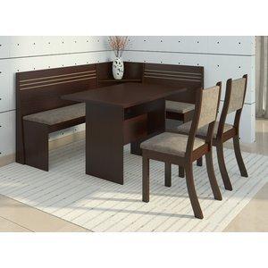 Conjunto Canto Alemão Mesa com 2 Cadeiras Scan Siena Móveis Choco/Canela