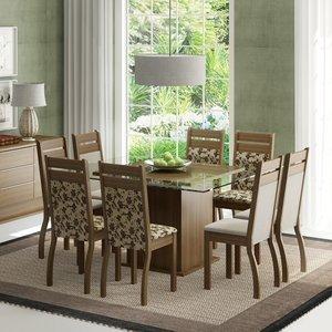 Conjunto Sala de Jantar Mesa e 8 Cadeiras Louise Madesa Rustic/Pérola/Floral