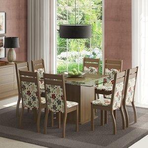 Conjunto Sala de Jantar Mesa e 8 Cadeiras Louise Madesa Rustic/Hibiscos