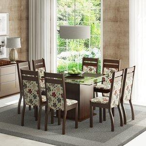 Conjunto Sala de Jantar Mesa e 8 Cadeiras Louise Madesa Tabaco/ Hibiscos