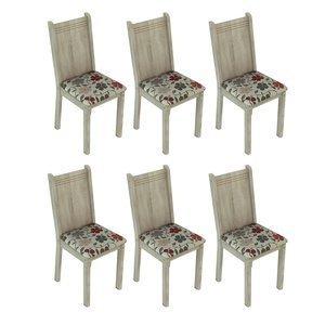 Conjunto 6 Cadeiras Lucy Madesa Acácia/Hibiscos