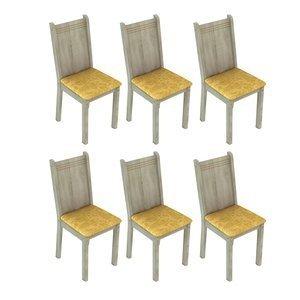 Conjunto 6 Cadeiras Lucy Madesa Acácia/ Palha