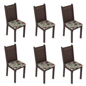 Conjunto 6 Cadeiras Lucy Madesa Tabaco/ Floral Hibiscos