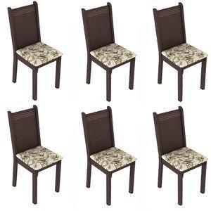 Conjunto 6 Cadeiras Lucy Madesa Tabaco/ Lírio Bege