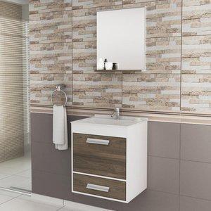 Gabinete para Banheiro com Espelheira Balcony UP (Não acompanha torneira e acessórios) Branco/Merlot