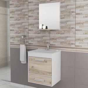 Gabinete para Banheiro com Espelheira Balcony UP (Não acompanha torneira e acessórios) Branco/Cabernet