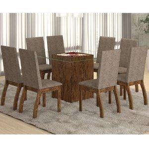 Conjunto para Sala de Jantar Mesa e 8 Cadeiras Ale Viero Avelã/Canela