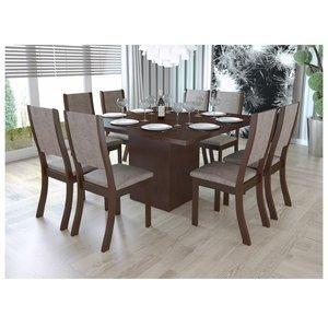 Conjunto Sala de Jantar Mesa e 8 Cadeiras Caqui Viero Choco/Canela