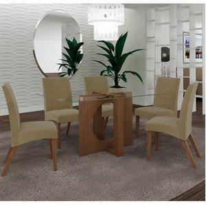 Conjunto Sala de Jantar Mesa 1,60mx80cm e 6 Cadeiras Atuale Lj Móveis Castanho/Bege