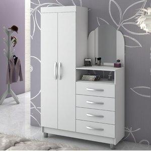Cômoda com Espelho 2 Portas 4 Gavetas com Cabideiro Prático New Notável Móveis Branco