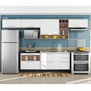 Cozinha Completa com Balcão 7 Peças Class Nesher Móveis Branco/Madeirado