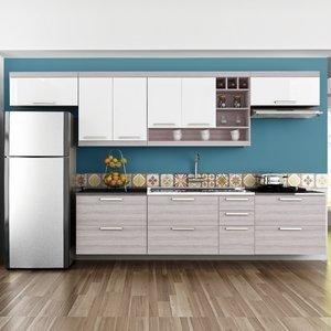 Cozinha Completa com Balcão 7 Peças Gold Nesher Móveis Branco/Madeirado