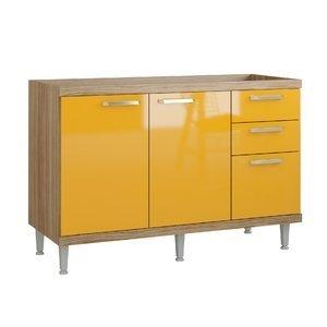 Balcão para Cozinha sem Tampo 1,20m 5124 Sicília Multimóveis Argila/Amarelo Gema