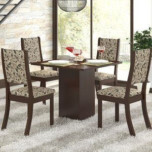 Conjunto Sala de Jantar Mesa e 4 Cadeiras Caju Viero Choco/Medina
