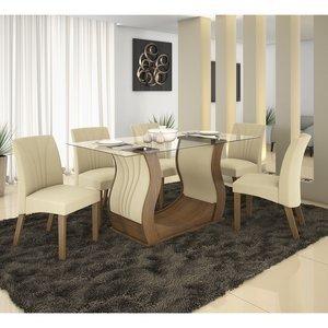 Conjunto Sala de Jantar Fortuna com 6 Cadeiras Alto Brilho Prêmio LJ Móveis Castanho Animale Bege