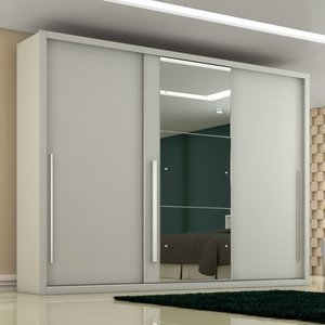 Guarda Roupa Casal com Espelho 3 Portas 6 Gavetas Toulon Móveis Novo Horizonte Branco