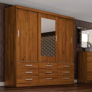 Guarda Roupa Casal com Espelho 3 Portas 9 Gavetas Sonare Móveis Novo Horizonte Freijó Dourado