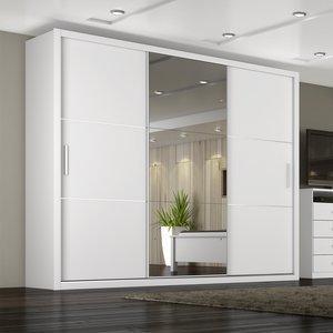 Guarda Roupa Casal com Espelho 3 Portas 4 Gavetas Paradizzo Plus Móveis Novo Horizonte Branco