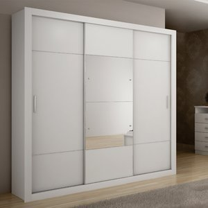 Guarda Roupa Casal com Espelho 3 Portas Arezzo Plus Móveis Novo Horizonte Branco