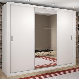 Guarda Roupa Casal com Espelho 3 Portas de Correr Luna Rufato Branco