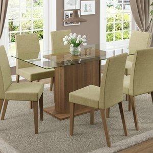 Conjunto Sala de Jantar Mesa 6 Cadeiras Carla Madesa Rustic/ Saara