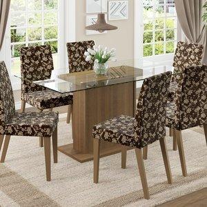 Conjunto Sala de Jantar Mesa 6 Cadeiras Carla Madesa Rustic/ Floral Cacau