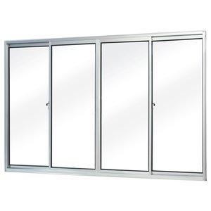 Janela de Correr Alumínio 4 Folhas MGM Soft 100cmx150cm Vidro Liso Incolor Branco