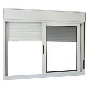 Janela de Correr Alumínio 2 Folhas com Persiana Integrada MGM Sólida 120cmx120cm Vidro Liso Incolor Branco