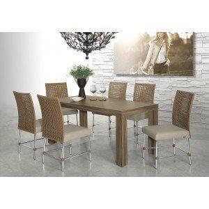 Conjunto Sala de Jantar Mesa Pietra 6 Cadeiras Pietra Aço Nobre Nogal
