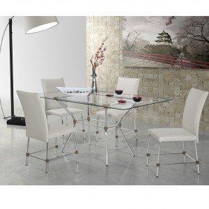 Conjunto Sala de Jantar Mesa Geovana 4 Cadeiras Luana Siena Móveis Alumínio