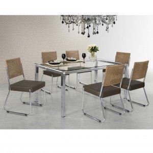 Conjunto de Jantar Mesa Olivia 6 Cadeiras Isis Aço Nobre Móveis Cromado