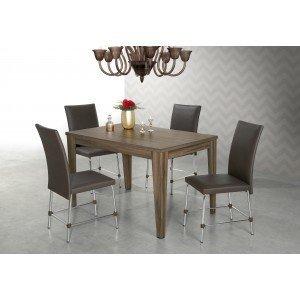 Conjunto Sala de Jantar Mesa Olinda 4 Cadeiras Luana Aço Nobre Nogal/Alumínio