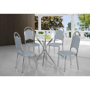 Conjunto de Mesa Vidro Redondo Londres com 4 Cadeiras Berlim Aço Nobre Cromado