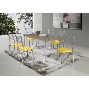 Conjunto de Mesa Jessica com 6 Cadeiras Mara Aço Nobre Castani/Cromado