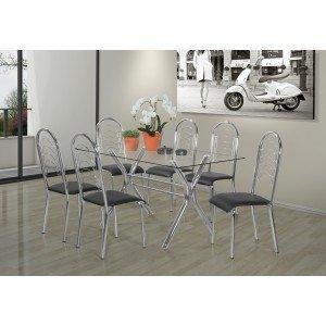Conjunto de Mesa Tampo Vidro Londres com 6 Cadeiras Pequim Aço Nobre Cromado
