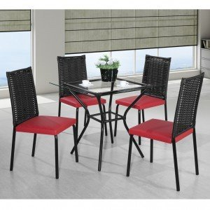 Conjunto de Mesa Tampo Vidro Geovana com 4 Cadeiras Mayra Aço Nobre Móveis Preto