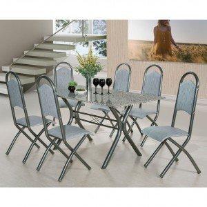 Conjunto de Mesa Londres com 6 Cadeiras Holanda Aço Nobre Móveis Craquelado Escuro