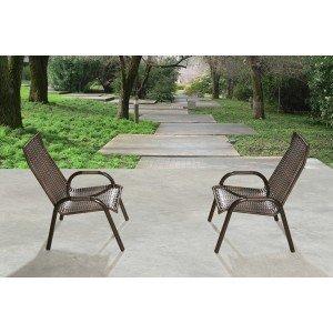 Conjunto 2 Cadeiras Juncada Aço Nobre Marrom