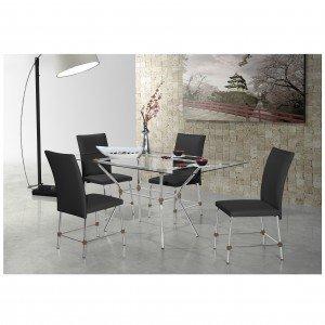 Conjunto Sala de Jantar Mesa Geovana 4 Cadeiras Luana Siena Móveis Alumínio/Preto