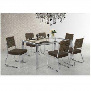 Conjunto de Jantar Mesa Olivia 6 Cadeiras Isis Aço Nobre Móveis Cromado/Chocolate