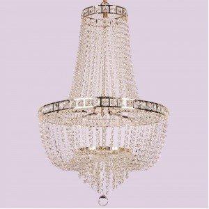 Lustre de Cristal para 23 Lâmpadas Fontana Gemelli Arquitetizze Dourado