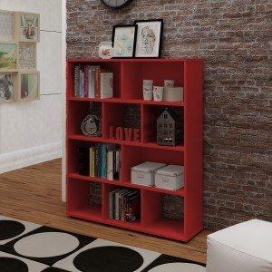 Estante para Livros com 10 Nichos Artely Vermelho