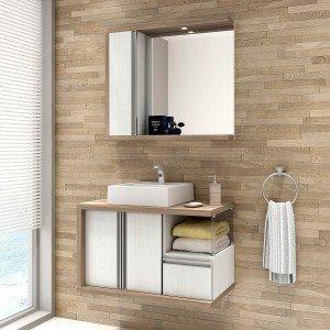 Gabinete para Banheiro com Espelheira Blanc 80 Balcony (Não acompanha torneira) Artico/Merlot
