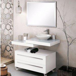 Gabinete para Banheiro com Espelho e Cuba Yes Collection (Não Acompanha Torneira) Bumi Branco